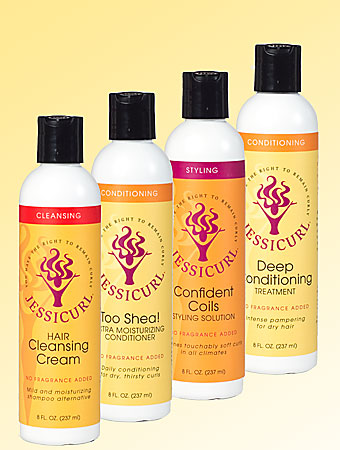 Jessicurl products in a line: Too Shea, Hair Cleansing Cream, Confident Coils, Deep Conditioning Treatment.
