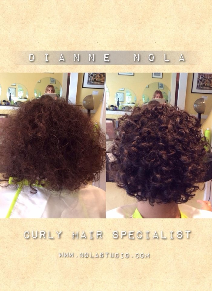 Before and after styled curly hair by Dianne
