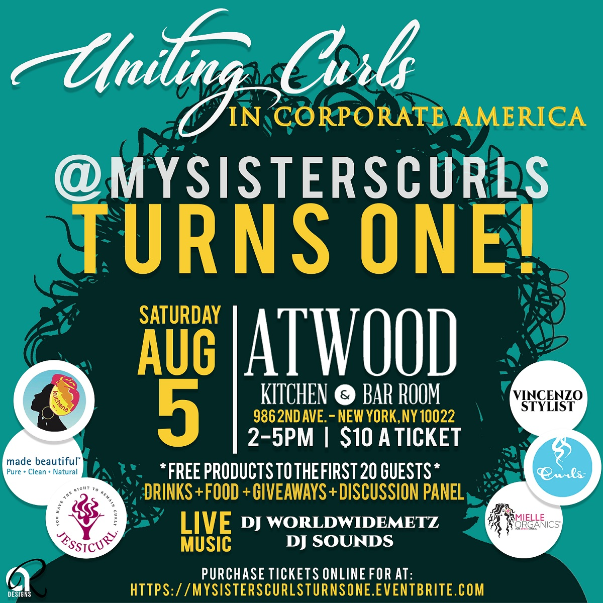 MySistersCurls Turns One Event Flyer